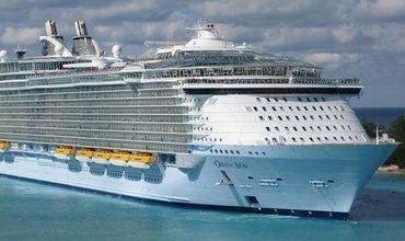 Корабль под названием Oasis of the Seas пришвартовался в порту Фалмут на Ямайке.
