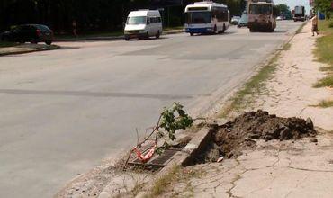 Ямы на столичном бульваре Траян представляют опасность для водителей и пешеходов