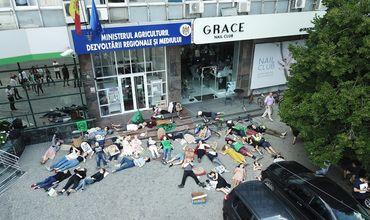 Перед минсельхозом активисты протестовали против загрязнения окружающей среды.