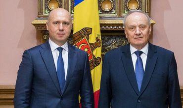 Премьер Павел Филип и президент Николае Тимофти.