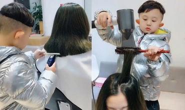 Шестилетний ребенок стал парикмахером и прославился