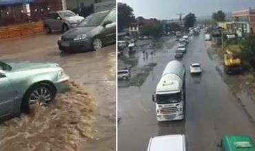 В Страшенах сильный ливень затопил дороги