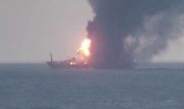 Два судна загорелись после взрыва в Керченском проливе.