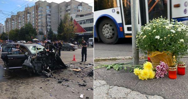 Troleibuz distrus de porsche: Locul, marcat cu flori și lumânări thumbnail