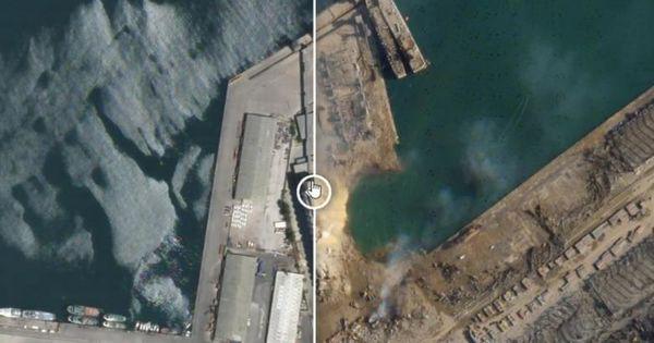 Imagini din satelit: Craterul imens apărut în urma exploziei din Beirut thumbnail