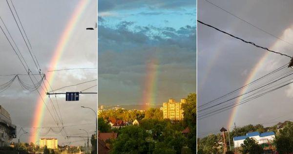 Salut multicolor: După o zi ploiasă, curcubeul a fost surpins pe cer thumbnail