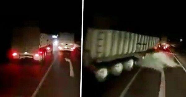 Момент столкновения трех грузовиков в Сороках попал на видео thumbnail