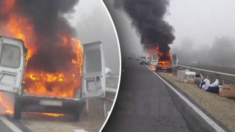 Incendiu pe traseul Chișinău-Orhei: Mașină, filmată cum arde ca o torță