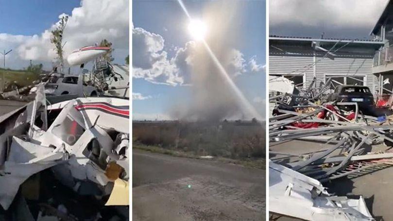 O tornadă a făcut ravagii în Italia: 7 avioane au fost distruse