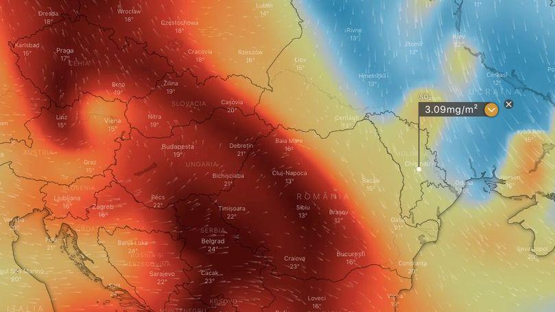 Imagine din satelit: Norul toxic a acoperit Moldova. Precizări oficiale