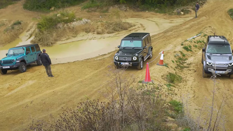 Mercedes-Benz Clasa G, Land Rover Defender și Jeep Wrangler, în off-road