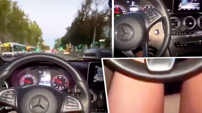 Șoferiță din Chișinău, filmată cum conduce Mercedesul cu picioarele