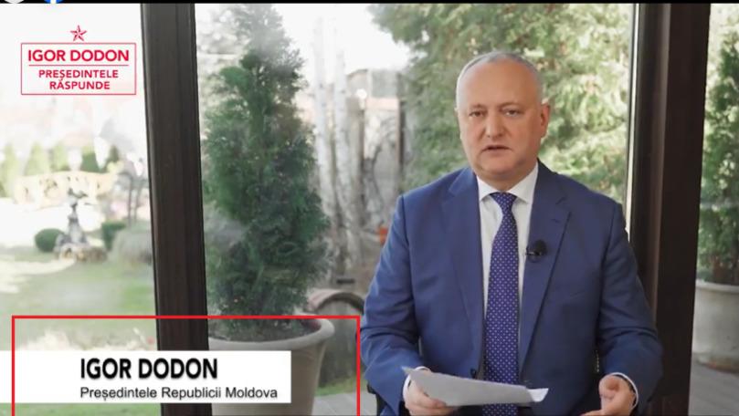Dodon, prezentat ca președintele R. Moldova în emisiunea sa de pe Facebook