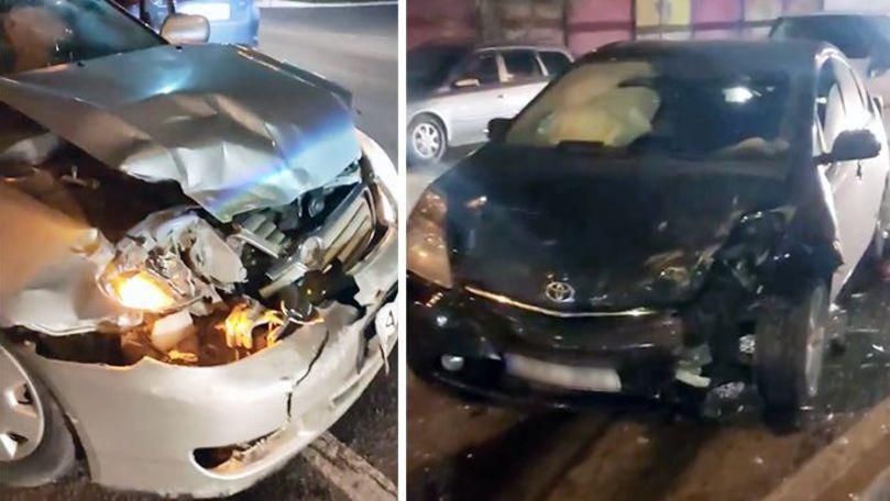 Accident în lanț: 3 mașini s-au ciocnit în Chișinău. Primele imagini