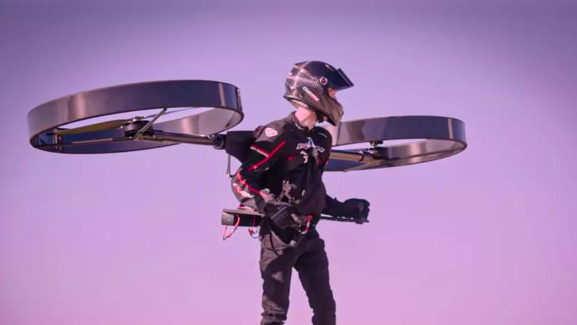 Elicopterul din ghiozdan: Primul zbor de test al dispozitivului, filmat