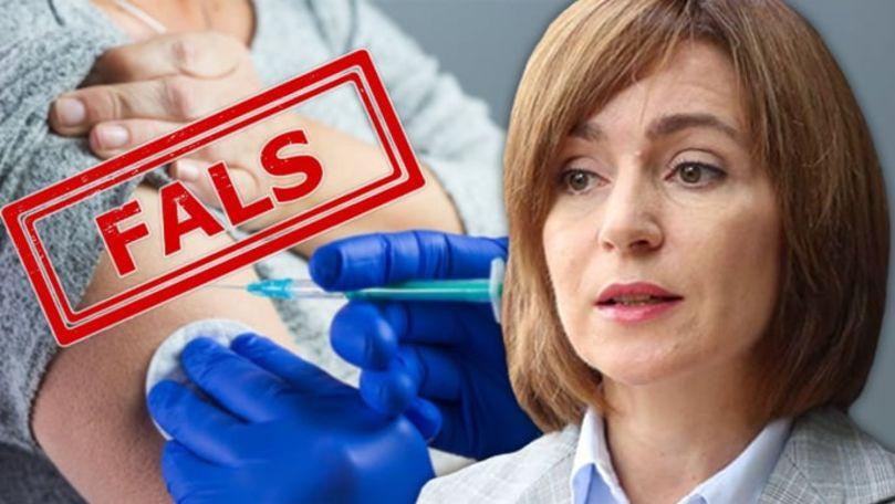 StopFals: Maia Sandu s-a vaccinat, în taină, încă în luna ianuarie