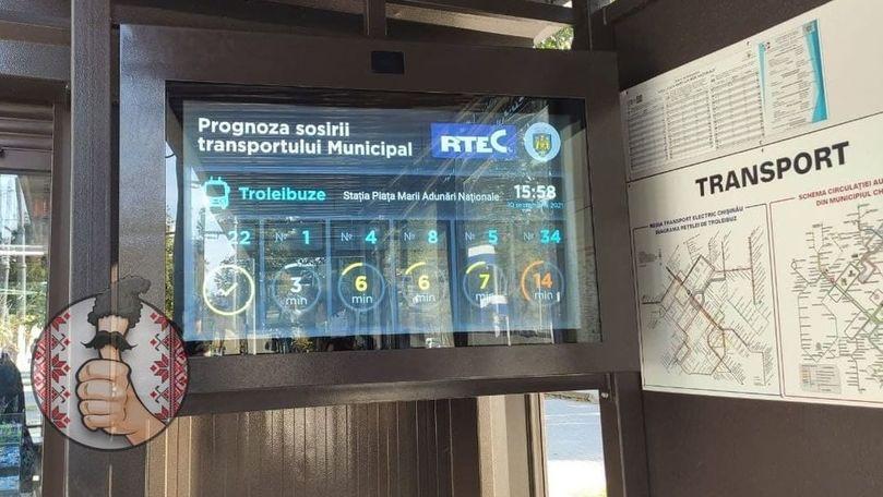 Orarul de circulație a troleibuzelor, în format electronic la o stație