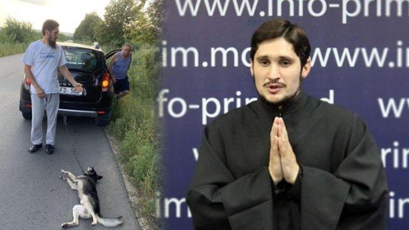 Preotul Ghenadie Valuță, filmat cum târâie pe asfalt un câine legat cu lanț