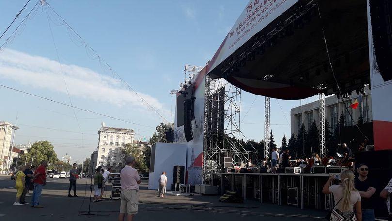 Scena pentru concertul din 24 august promis de Dodon, instalată în PMAN