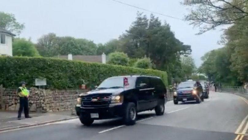 Coloana președintelui Joe Biden, filmată cum merge pe contrasens în Anglia