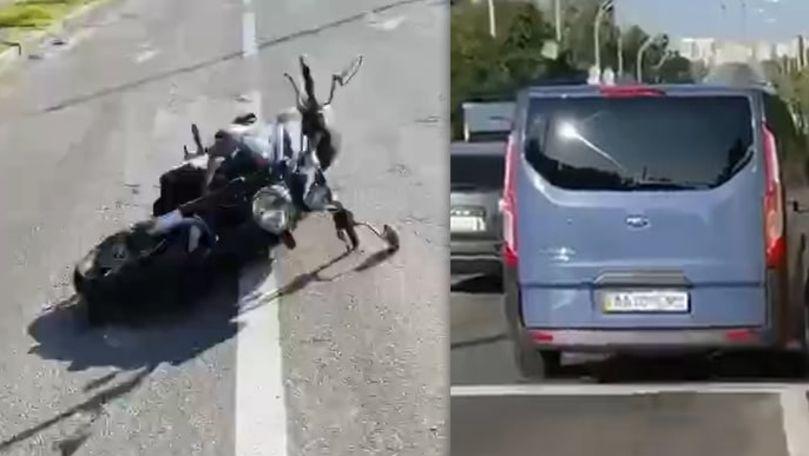 În goana după Ceaus: Cum organele de drept ale Ucrainei au lovit un motociclist, la semafor