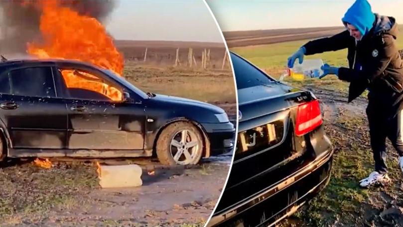 Un moldovean şi-a incendiat mașina pentru a deveni popular pe Internet