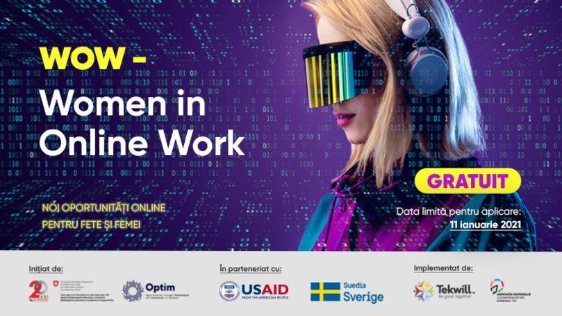 """Proiectul """"Women in Online Work (WOW)"""": Noi oportunități online pentru fete și femei Ⓟ"""