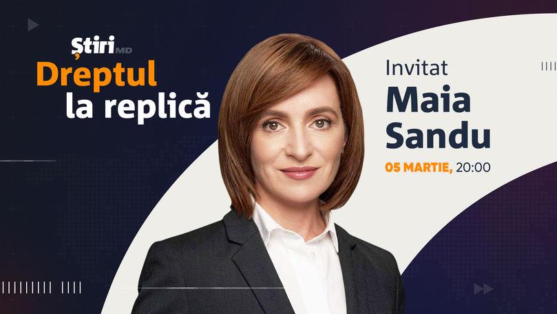 Maia Sandu, invitata emisiunii Dreptul la Replică de la Știri.md
