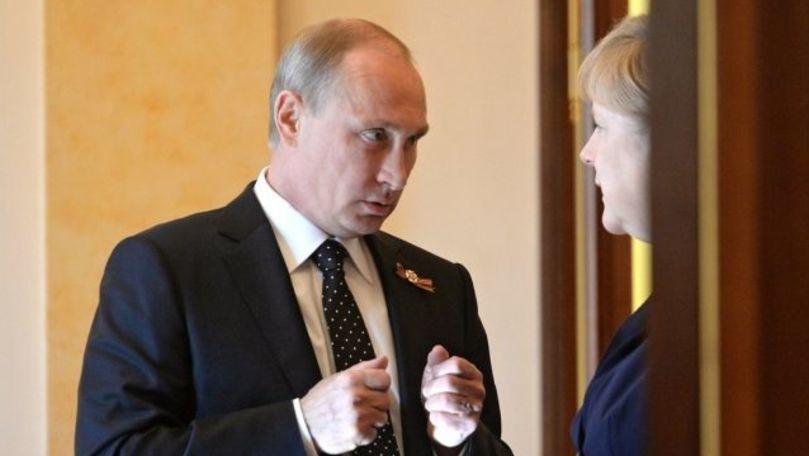 Putin și Merkel, mulțumiți de progresul gazoductului Nord Stream 2
