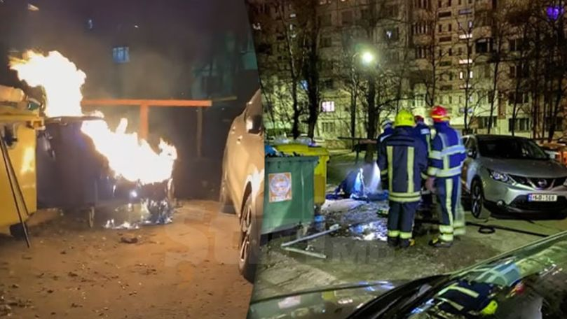 Incendiu în curtea unui bloc din Capitală: O gunoiște a luat foc