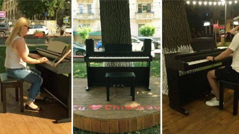 Un pian stradal, instalat în centrul Chișinăului: Doritorii pot cânta