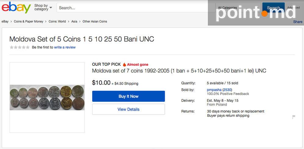 9cac35743805 Эти две монеты давно перестали выпускать в Молдове. Продавцы американского  интернет-магазина помимо стоимости коллекции берут и  4,5 за доставку.