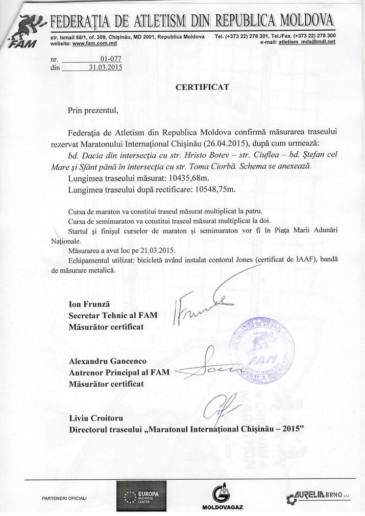 federatia de atletism, maraton chisinau