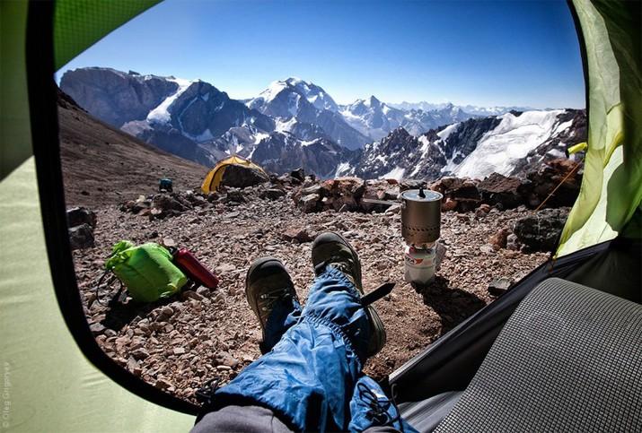 утренние виды из палатки, фанскии горы
