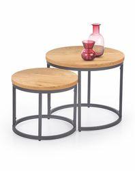 Стол OREO (сет из 2 столиков, дуб золотой/чёрный)