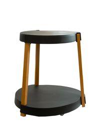 Masuta de cafea cu suprafata din plastic, picioare lemn, in doua nivele, cu rotile 545x610 mm, negru TR-SB-61N