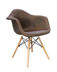 Scaun tapitat cu picioare de lemn cu suport metalic, 460x640.5x480x800 mm, cafeniu XH-8066DBD12
