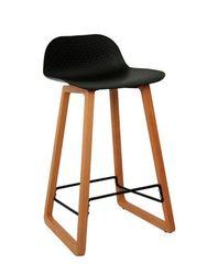 Scaun bar din plastic, picioare de lemn 460x470x865 mm, negru NET-BAR-WN