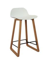 Scaun bar din plastic, picioare de lemn 460x470x865 mm, alb NET-BAR-WA
