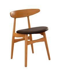 Scaun din lemn cu sezut din piele, 630x550x970.5 mm, negru WS-105