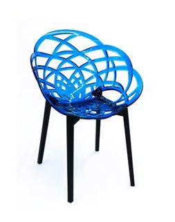 Кресло Flora (синий/черный матовый)