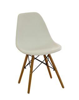 Scaun din plastic cu picioare de lemn cu suport metalic, 500x460x450x820 mm, alb XH-8056W