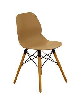 Scaun din plastic si picioare de lemn cu suport din metal, 495x455x750 mm, cafeniu PW-025NP-C