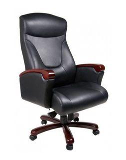 Кресло Galant MB, орех, кожа Lux черный комбинированный