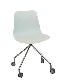 Scaun din plastic si picioare cromate cu rotile 480x470x810 mm, alb NET-10A