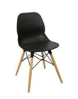 Scaun din plastic si picioare de lemn cu suport din metal 495x455x750 mm, negru PW-025NP-N