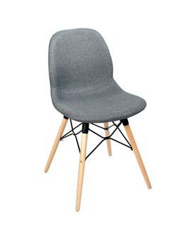 Scaun din plastic tapitat si picioare din lemn cu suport din metal 485x460x855 mm, gri PW-025NPS-H507-26