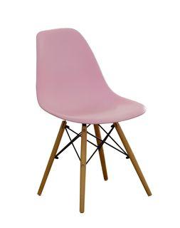 Scaun din plastic cu picioare de lemn cu suport metalic, 500x460x450x820 mm, roz XH-8056P