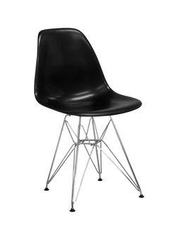 Scaun din plastic cu picioare metalice cromate 490x490x790 mm,negru PC-016