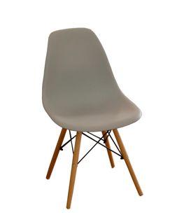 Scaun din plastic cu picioare de lemn cu suport metalic, 500x460x450x820 mm, gri XH-8056G